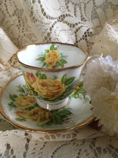 Vintage Mid Century Malvern Tea Rose Bone China Tea Cup & Saucer by BedfordBeachWorks on Etsy French Country Furniture, Glass Tea Cups, Antique Tea Cups, Paisley Fabric, China Tea Sets, Bone China Tea Cups, Tea Time, Coffee Time, Coffee Cups