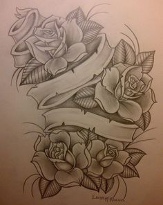 Rose Tattoo Designs With Banners Rose Drawing Tattoo, Tattoo Design Drawings, Heart Tattoo Designs, Tattoo Sketches, Rose Tattoos, Flower Tattoos, Body Art Tattoos, Sleeve Tattoos, Kunst Tattoos