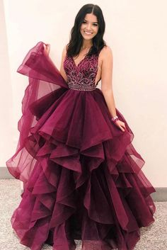 Luxurious V Neck Burgundy Long Prom Dress Quinceanera Dress