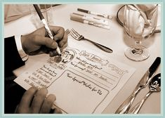 This is such a GREAT idea - a doodle sheet at each place setting each guest uses and then they all go together as a guest book!
