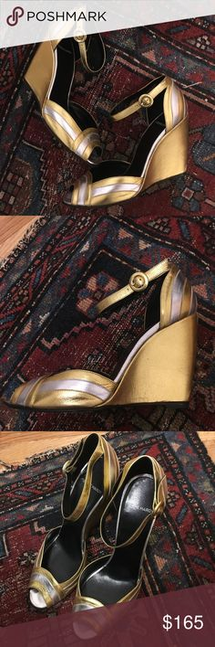 Pierre Hardy Deco 20s Gold Silver 9.5 39.5 40.5 Pierre Hardy Art Deco Wedges - Gold + Silver Metallic leather.  Very Surrealist and/or Great Gatsby.  Wedding, MOH, bridesmaid.  **Marked 40.5 but they run small: I am a US 9.5 and they fit me perfect.**   Worn once (see outsole).  Some very light marks on the wedge on account of the soft metallic leather.     These shoes are ridiculously beautiful, collector's pair for sure.  SMOKE FREE PET FREE. Pierre Hardy Shoes Heels
