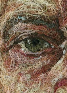 A close-up of thread art by Mondongo, an argentinian group of artists, and used by Commes des Garcons. The artists remarkably capture the highlights, textures, and features of the face using strands of thread. Well done!