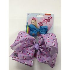 JoJo Siwa Print Bow 2 Pack - Purple with unicorns and hearts - The Entertainer - The Entertainer
