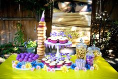 I'm not big on character parties, but this donut tower for this Tangled party is very inspired.
