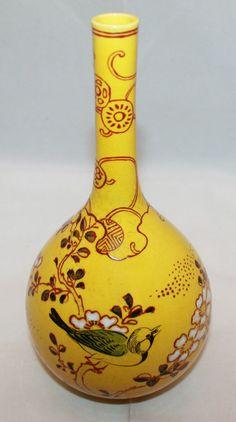Vintage Asian Chinese Mustard Yellow Porcelain Handpainted Flower Bud Vase Bird
