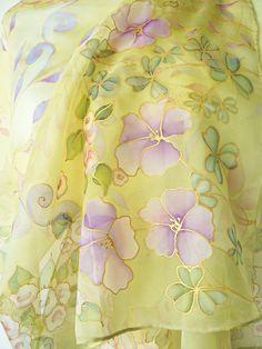 Floral yellow long silk #scarf hand painted - wedding natural chiffon silk wrap light yellow purple gold - Rose shamrock elegant #silk stole #weddingstole #yellowsilkscarf #floralsilkwrap #handpaintedstole #silkstole #womenscarves #uniqueaccessories #luxuryscarves Saree Painting, Fabric Painting, Yellow Punjabi Suit, Painted Silk, Hand Painted, Designer Punjabi Suits Patiala, Fabric Paint Designs, Chinese Brush, Paintings