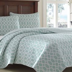 Tommy Bahama Bedding Catalina Trellis 3 Piece Reversible Quilt Set & Reviews | Birch Lane