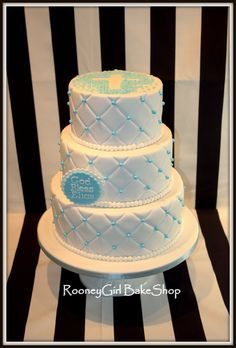 Quilted Baby Baptism Christening Cake  on Cake Central
