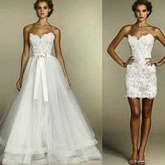 This is amazing!! It's the one! Wedding and reception dress. Dress converts into a cocktail dress.