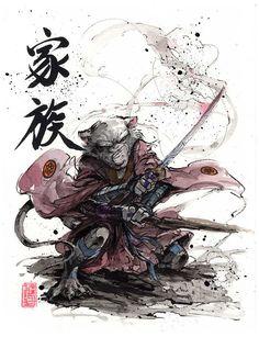 Master Splinter Sumi and watercolor by MyCKs.deviantart.com on @DeviantArt