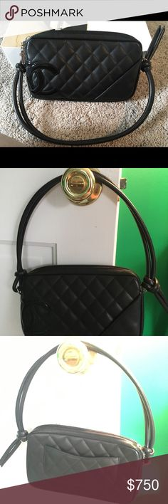 0774dee10c18 CHANEL Authentic Black Quilted Cambon Pochette Bag Authentic Adorable Black  quilted leather Chanel bag with double