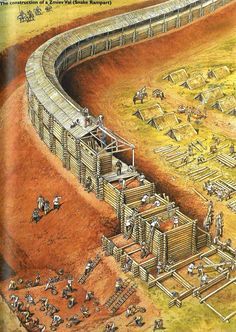 Construction of a Russian Zmiev Val (Snake Wall), medieval period. Construction of a Russian Zmiev Val (Snake Wall), medieval period. Fantasy City, Fantasy Castle, Fantasy Map, Medieval Fantasy, Chateau Medieval, Medieval Castle, Ancient Buildings, Ancient Architecture, Ancient Rome