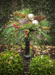 To create all-new winter displays, start by building exterior holiday displays filled with winter greens and accents that are generic enough to stay up until the crocuses push through the snow. Christmas Urns, Outside Christmas Decorations, Natural Christmas, Rustic Christmas, Winter Christmas, All Things Christmas, Christmas Wreaths, Christmas Crafts, Christmas Ornaments