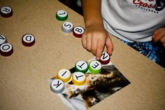 Use bottle tops for learning sight words