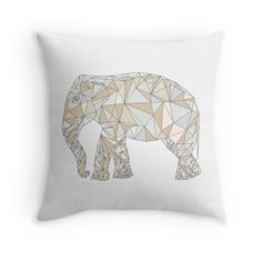 Elephant Pillow. Elephant abstract geometric polygon  by Viktoriia.   animal, nature, illustration, low poly, wild, triangle, symbol, geometric, polygon, graphic, design, isolated, wildlife, art, shape, abstract, polygonal, icon, background, zoo, concept, creative, mammal, white, origami, element, life, geometry, decoration, beast, style, logo, artwork, paper, contour, object, modern, black, trendy, safari, mosaic, simple, elephant, african, coloring, unique, popular