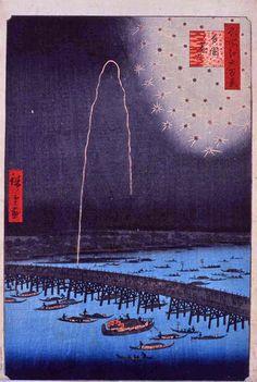 歌川広重(Utagawa Hiroshige 1797ー1858)「名所江戸百景 両国花火」