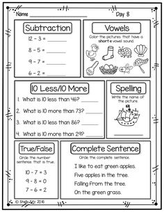 First Grade Morning Work Freebie First Grade Freebies, First Grade Worksheets, Printable Math Worksheets, Free Kindergarten Worksheets, Reading Worksheets, Kindergarten Reading, Worksheets For Kids, Preschool Activities, Free Printable