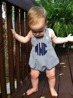 Baby Boys Sunsuit, Personalized, Circle Monogram, Sizes 6 months to 24 months