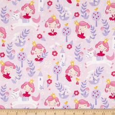 Timeless Treasures Pretty Princess Princesses Pink from @fabricdotcom  From Timeless Treasures Fabrics of SOHO, this cotton print fabric is perfect for any pretty princess! Use for quilting, apparel, and home decor accents. Colors include shades of pinkish purple, lilac, pink, beige, yellow, andw hite.