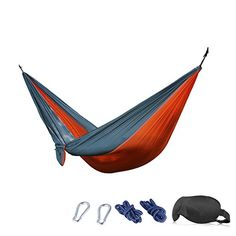 Camping Hammock  210T Parachute Nylon Portable HeavyDuty 3D Eye Mask 230x90 cm OrangeGray * You can find more details by visiting the image link. Note: It's an affiliate link to Amazon