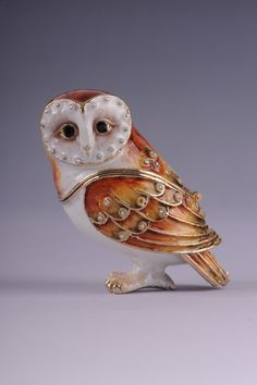 Faberge Owl trinket box by Keren Kopal EASTER EGGS Swarovski Crystal Jewelry box - Each item is made of pewter