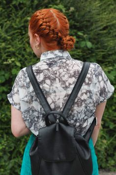 Braided hair and backpack