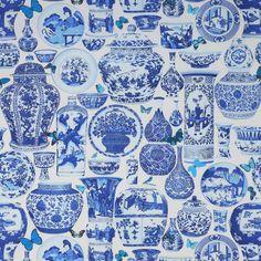 Manuel Canovas delft blue chinese porcelain vases pattern/wallpaper