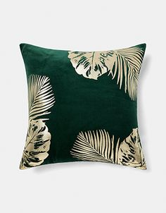 Printed with gold foil palms on plush green velvet, our leaf cushion is a lavish choice for your soft furnishings update. This large square cushion is perfec. Green Cushions, Gold Cushions, Velvet Cushions, Cushions For Grey Sofa, Large Cushions, Printed Cushions, Cushions On Sofa, Gold Bedroom, Bedroom Green