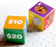 Cookie Rallies | Little Brownie Bakers Print cookie and money dice on cardstock Have the girl roll the dice and then try to figure out how much change to give