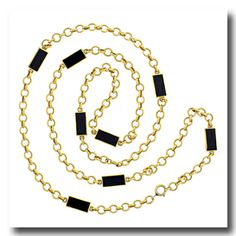 Inv. #16786  Van Cleef & Arpels Onyx Necklace 18k c1960-70s Paris France. Lawrence Jeffrey