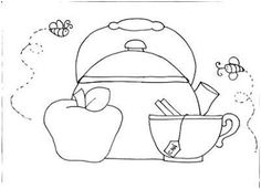 tea cup,apple and hot water kettle