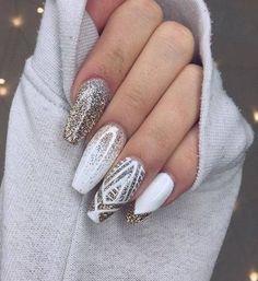 Nail Art Nail Ballerina White Polish Gold Glitter