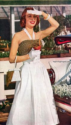 Celanese 1957 vintage fashion style color photo print ad model magazine white halter strap dress day purse gloves hair 50s 60s full skirt