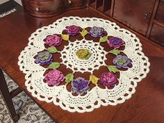 Mary Maxim - Floral Splash Doily - New Items Latch Hook Rug Kits, Beaded Crafts, Lace Making, Rug Hooking, Accent Pieces, Doilies, Diy And Crafts, Outdoor Blanket, Delicate