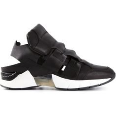 Cinzia Araia Open Sneakers ($257) ❤ liked on Polyvore featuring shoes, sneakers, black, cinzia araia shoes, black sneakers, cinzia araia sneakers, black leather sneakers and real leather shoes