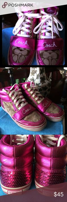 Coach Mistie High Top Sequin Signature C Sneakers Coach Mistie High Top Sequin Signature C Canvas Sneakers size 9.5B. EUC! Hardly worn. A few sequins are losing color (hardly noticeable) and soles are dirty. Great shoes!! Coach Shoes Sneakers