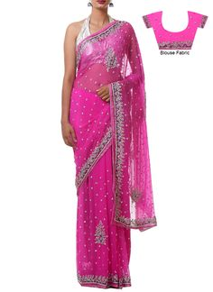 Magenta Pink Chiffon Saree