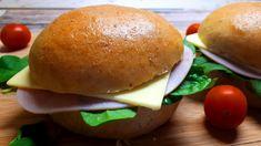 Szénhidrátcsökkentett vizes zsemle házilag Stevia, Hamburger, Bread, Ethnic Recipes, Food, Kitchen, Cooking, Brot, Essen