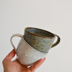 Small sized cappuccino mugs! Holds around 8oz.Fired in gas kilns to cone 10This listing is for 1 mugHandmade in our Los Angeles studioDue to the handmade nature of our work, color and shape will vary slightlyHand washing is best, but also dishwasher and microwave safe