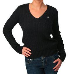 RALPH LAUREN Sport V Neck Cable Knit Womens Sweater