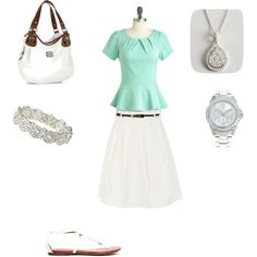 """""""Office Wear: Mint and White"""" by radsstylebook on Polyvore"""