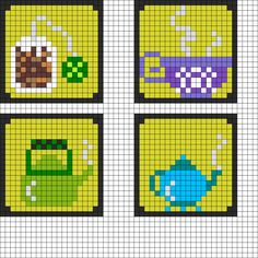 Tea Coaster Set Perler Bead Pattern | Bead Sprites | Food Fuse Bead Patterns