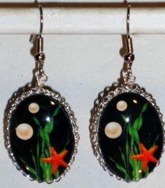 Ohrringe Seestern Damen Hänger Durchzieher Ohrschmuck Modeschmuck Glas Neuware