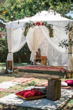 30 Wild And Free Hippie Wedding Ideas ❤ hippie wedding lace bohemian chilling tent decorated with flowers ever after vintage weddings via instagram ❤ See more: http://www.weddingforward.com/hippie-wedding/ #weddingforward #wedding #bride #weddingdecor #bridaldecorations #hippiewedding