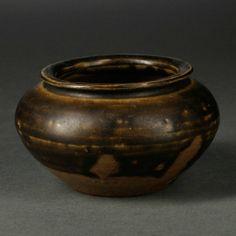 Black-glazed Miniature Jar, China, 19th/20th century, globular, with softly rounded shoulder, the glaze stopped near the bottom, unglazed base, ht. 2 in.