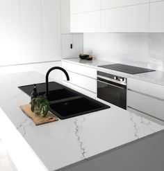 Simple and bold finishes for this project by . White Countertops, Kitchen Countertops, Kitchen Benches, Kitchen Dining, Home Decor Kitchen, Kitchen Interior, Black Kitchens, Home Kitchens, Black Sink