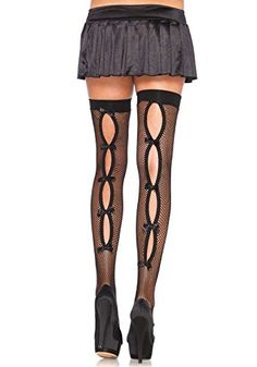 a14eeac4430 Leg Avenue Women s Bow Back Seam Thigh High Stockings