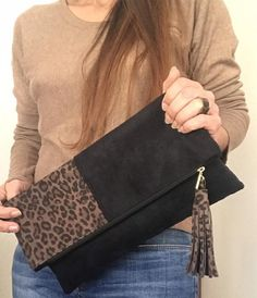 Maxi Pochette réversible en cuir italien imprimé léopard et   Etsy