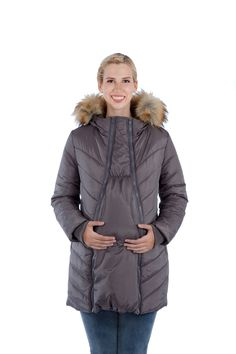 Lexie 3-in-1 Quilted Maternity Puffer Coat with Fur Trimmed Hood • Modern Eternity Maternity & Regular • maternity coats • Shop new 4 WAY stretch denims and our famous 3in1 maternity outerwear 2015