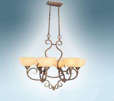 Jeremiah Lighting 6 Light Scroll Hanging Bronze Chandelier Fixture Lamp